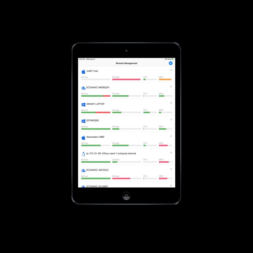 CloudBerry Backup Admin for iOS on iPad screen