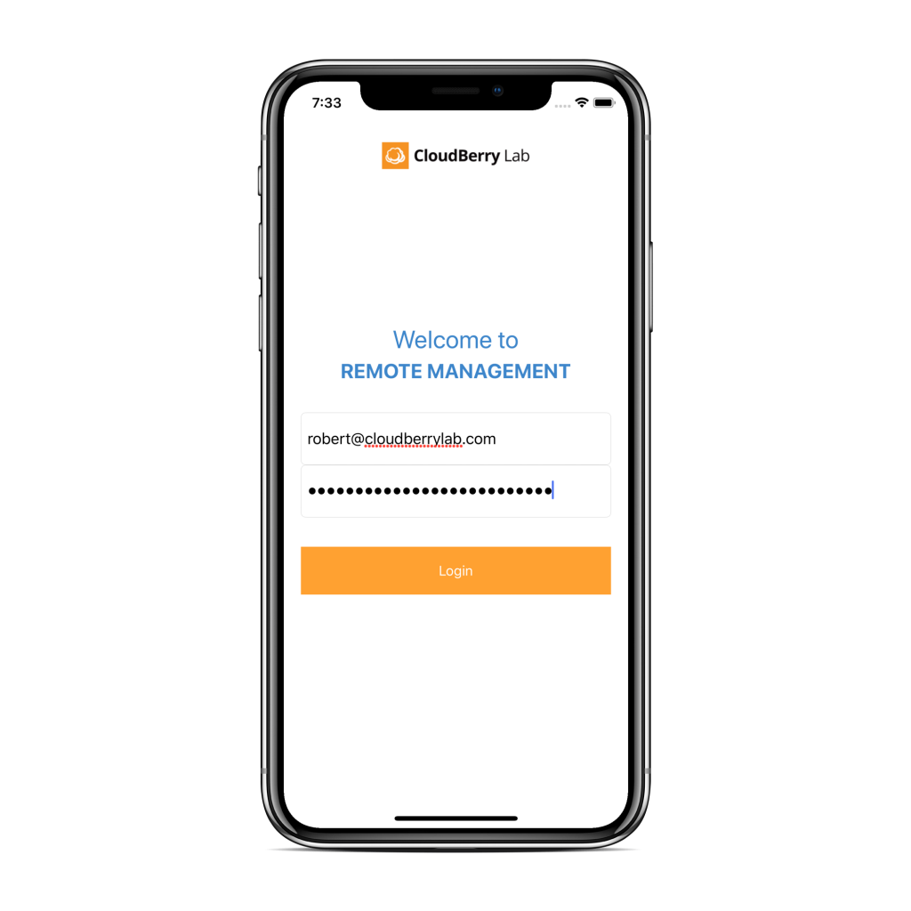 CloudBerry Backup Admin for iOS authentication screen