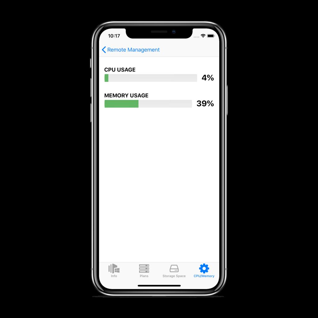 CPU/Memory tab in CloudBerry Backup Admin for iOS