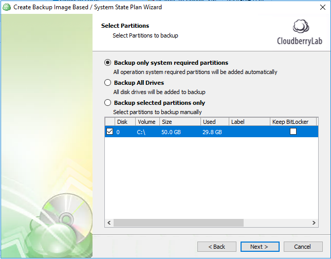 Selecting partitions for SQL Server image-based backup to Azure
