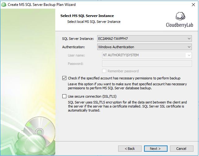 Choosing SQL Server instance for backup to Azure