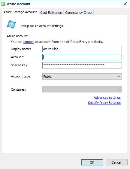 Adding Azure storage account - CloudBerry Backup screenshot