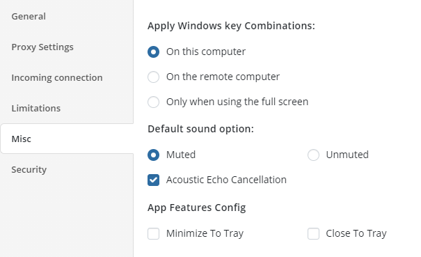Other Options in Managed Remote Desktop