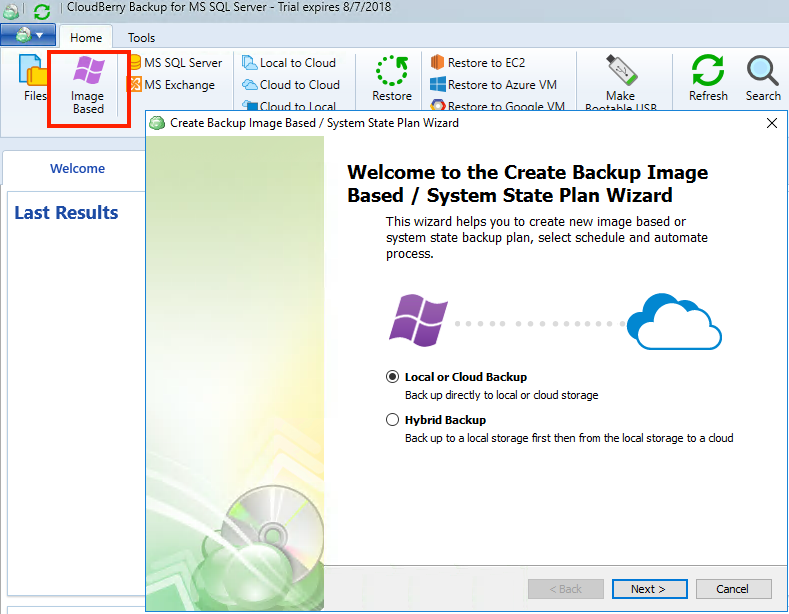 Setting up image-based backup for MS SQL Server with CloudBerry Backup