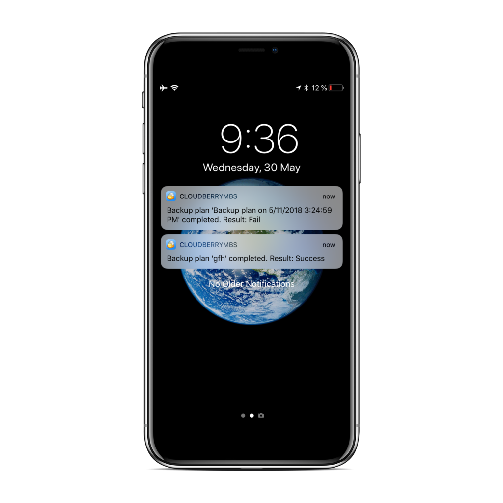 Sample notifications on iPhone screen from CloudBerry Backup Admin for iOS