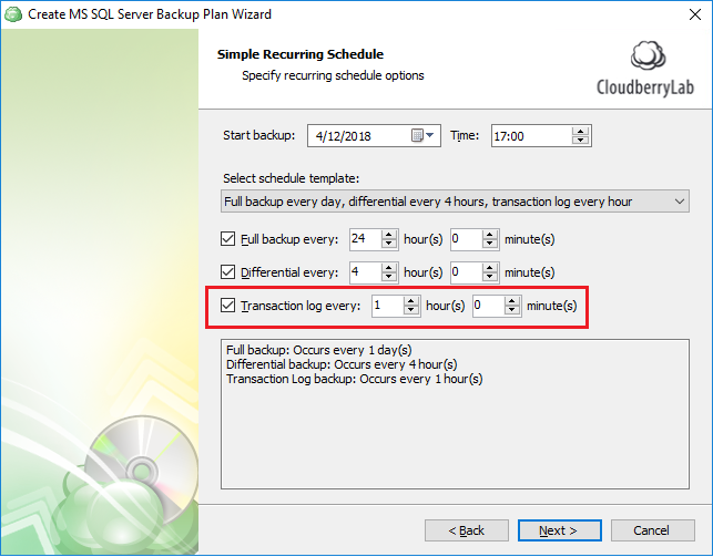 Configuring transaction log backup to run every hour