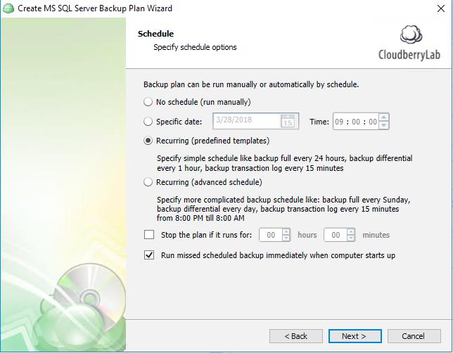 Choose schedule for your SQL Server backup