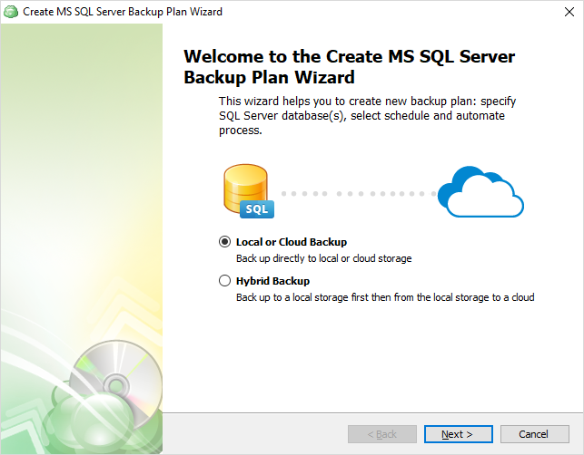 Select the backup route for SQL Server differential backup