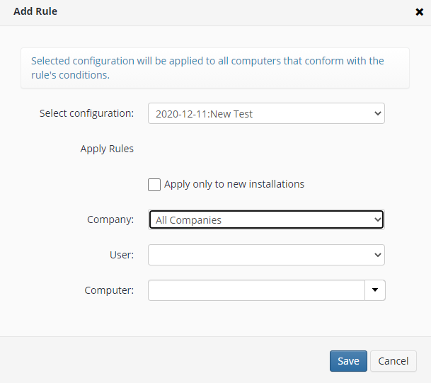 Remote Deploy in Managed Backup Service: Adding a Rule