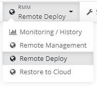 The Remote Deploy Sectionin Managed Backup Service