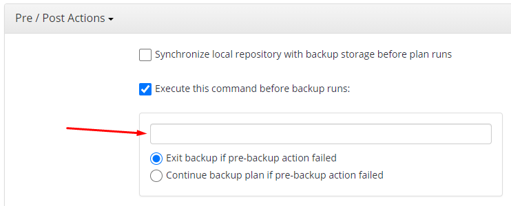 Appying the Pre-Action Scriptin Managed Backup Service