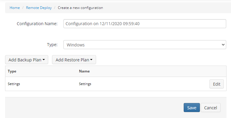 Creating a Configuration in Managed Backup Service