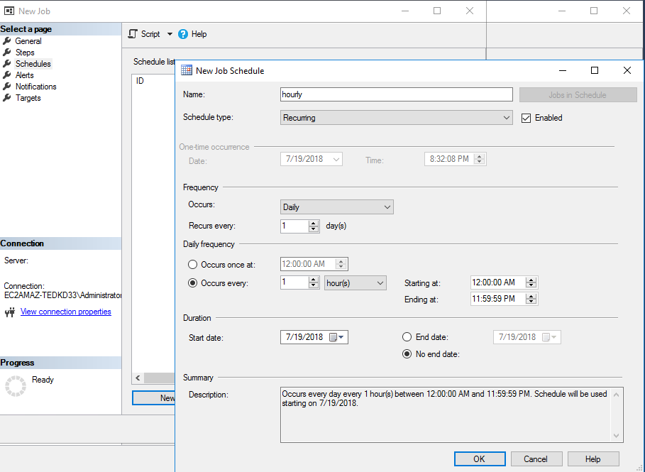 Scheduling settings example with T-Logs backup job that will run every hour