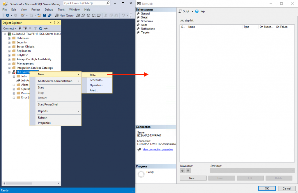 Create a new job in SQL Server Agent
