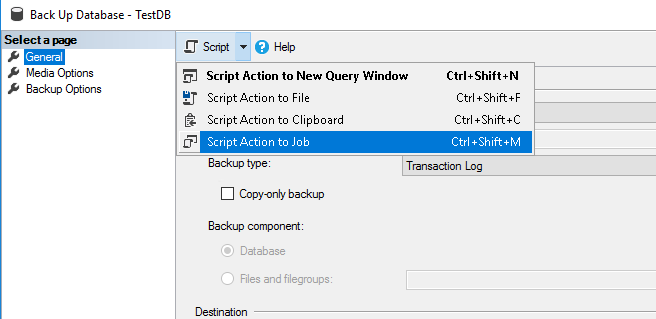 Convert T-Log backup settings to the scheduled job