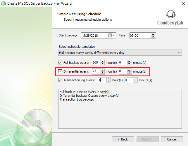 Configuring daily SQL Server differential backup