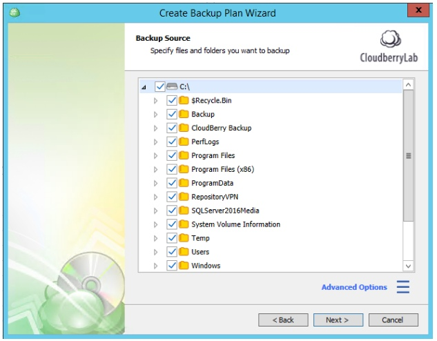 Multiple Scheduled Backups with CloudBerry Backup. Select files and folders