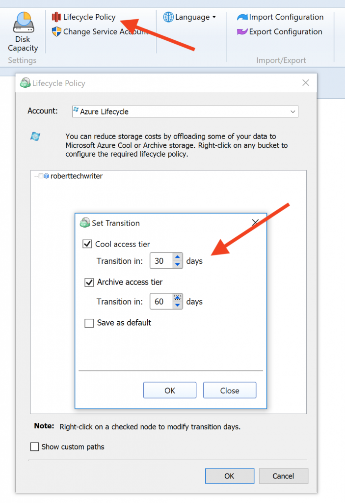 Setting up Azure lifecycle management