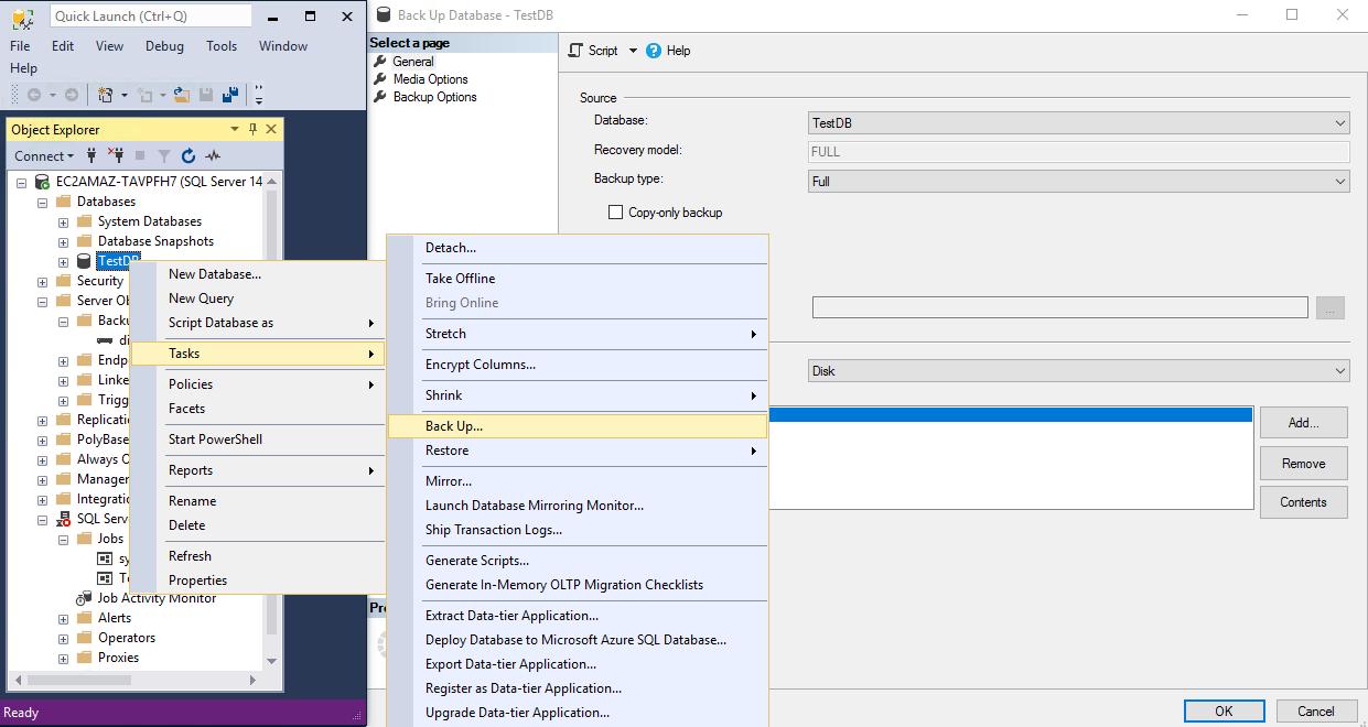 Creating automatic SQL Server backup in SQL Server Management Studio