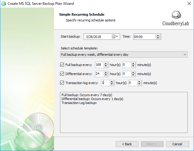 Specifying simple recurring schedule for automatic SQL Server backup