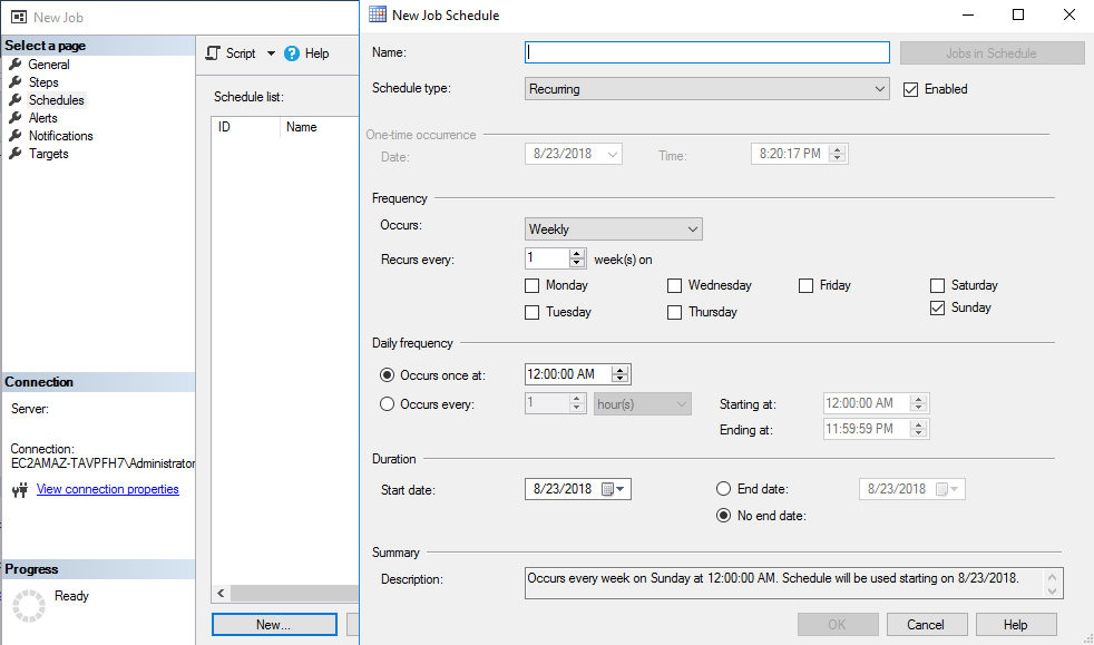 Scheduling automatic SQL Server backup