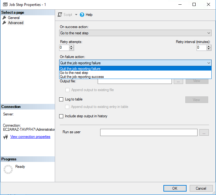Setting additional options and error-handling rules for SQL Server automatic backup in the Advanced tab