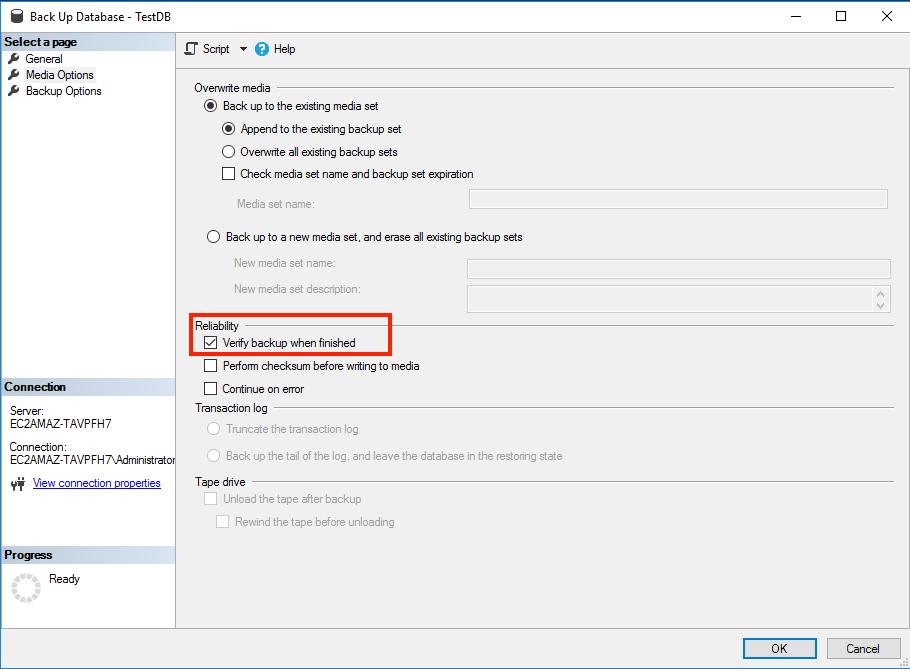 Configuring MS SQL Server backup verification