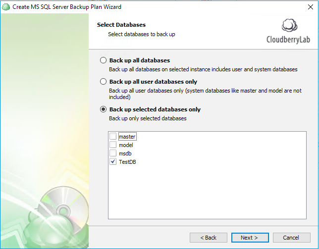 Selecting databases to back up