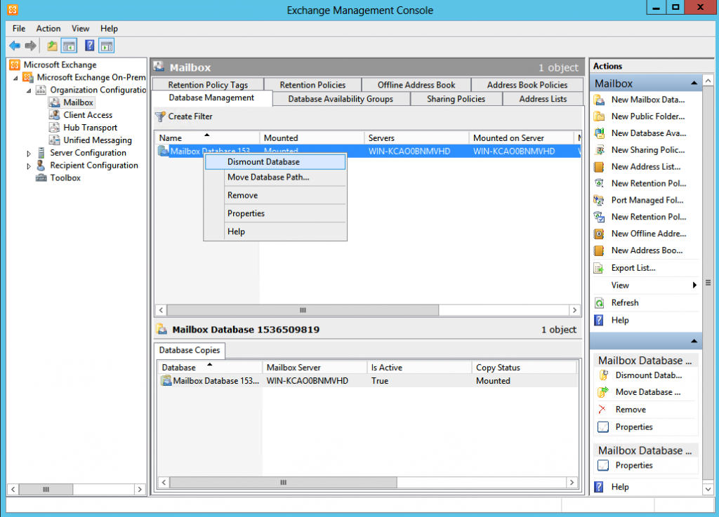 Dismounting database in Exchange Management Console before Exchange log files cleanup