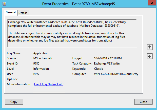 Exchange log files cleanup confirmation in Windows Event Viewer