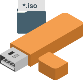 Bare-metal recovery from USB or ISO file