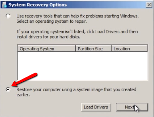 Bare-metal recovery step 4: check 'Restore your computer using a system image that you created earlier.'