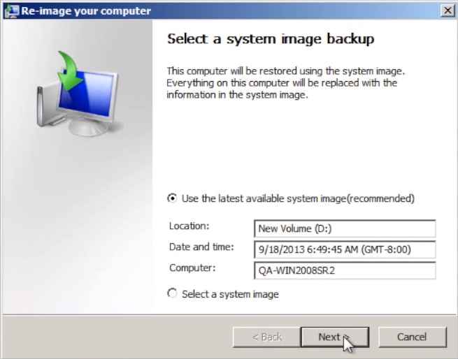 Bare-metal recovery step 5: check 'Use the latest available system image.'