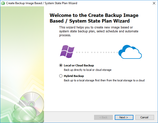 Choose the backup type in CloudBerry Backup