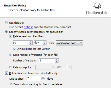 """Uncheck """"Delay Purge for"""""""