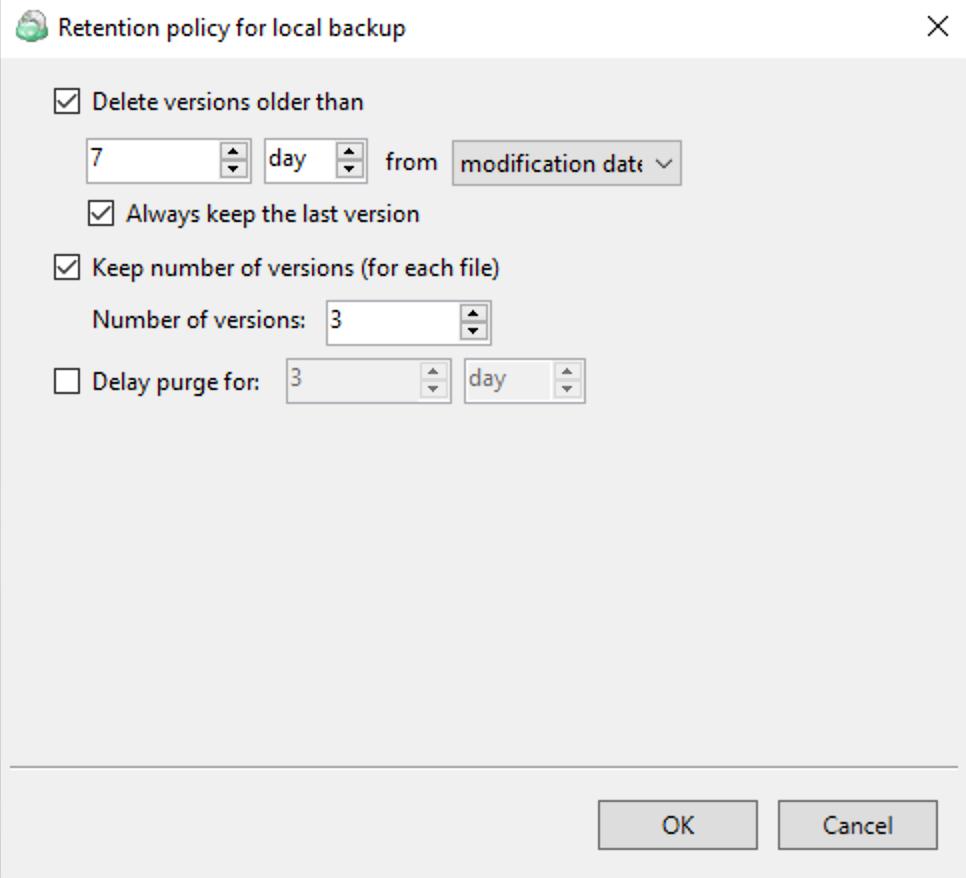 Retention policy configuration