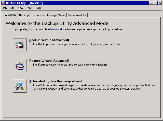 Performing Windows Server 2003 image backup with ntbackup