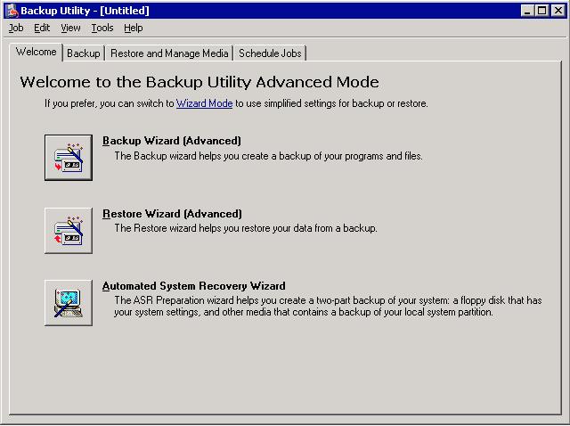 Performing Windows Server 2003 image backup with ntbackup