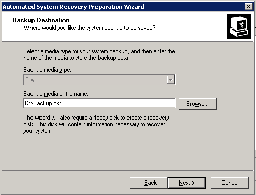 Choosing Backup destination in Windows Server 2003 image backup with NTBackup