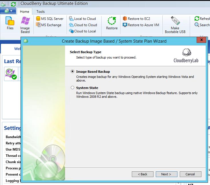 Select Image Based Backup as a backup type.