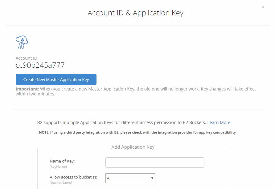 BackBlaze B2 Application Key