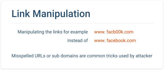 Types of Phishing. Link manipulation