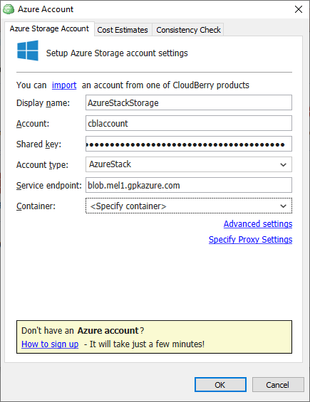 Azure Account dialog box