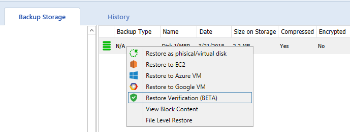 Restore Verification in CloudBerry Backup 6 1