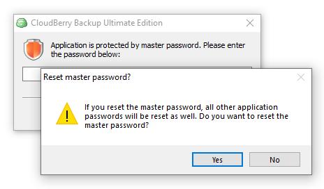 Reset master password dialog box
