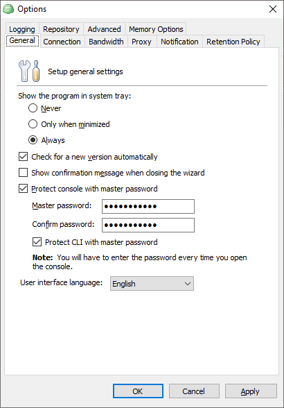 Master password tab in the Options dialog box