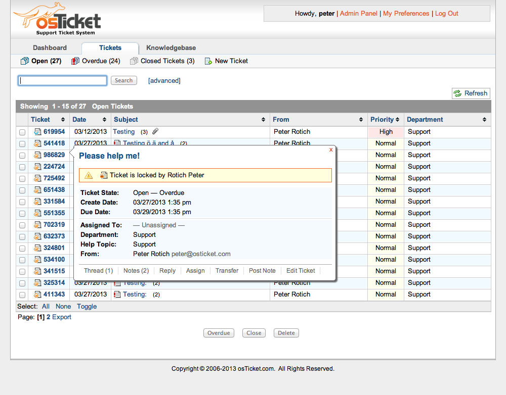 osTicket free helpdesk ticketing system - screenshot
