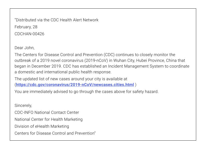 Coronavirus Phishing Email Example #1