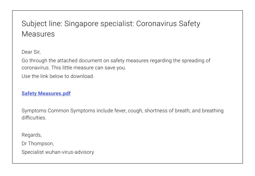 Coronavirus Phishing Email Example #2