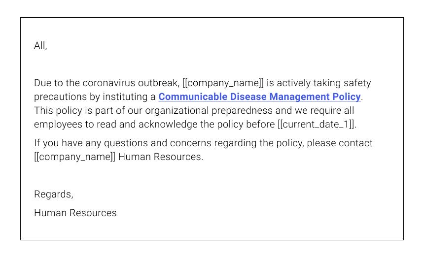 Coronavirus Phishing Email Example #3